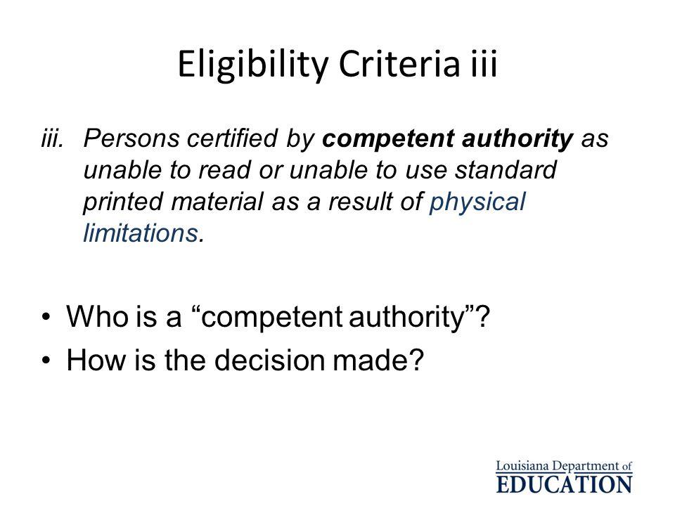 Eligibility Criteria iii