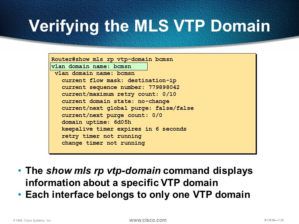 Verifying the MLS VTP Domain