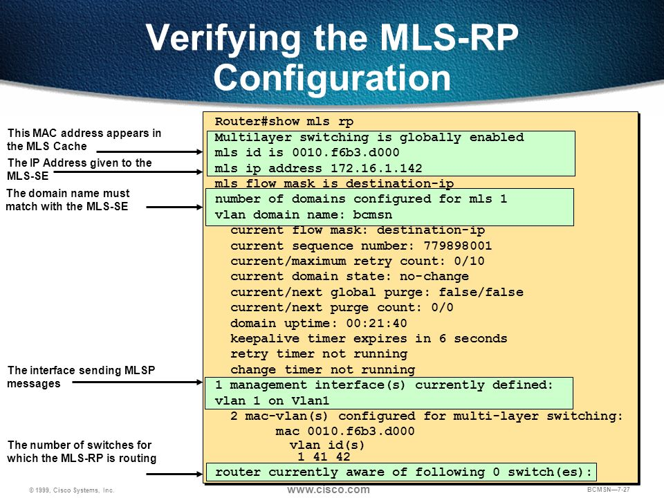 Verifying the MLS-RP Configuration