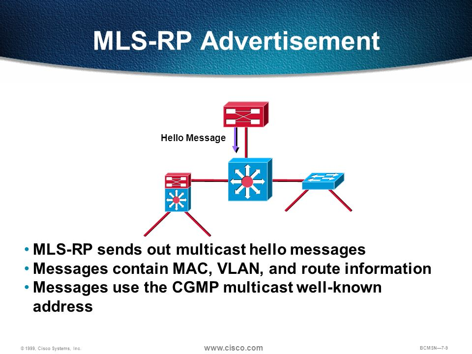 MLS-RP Advertisement MLS-RP sends out multicast hello messages