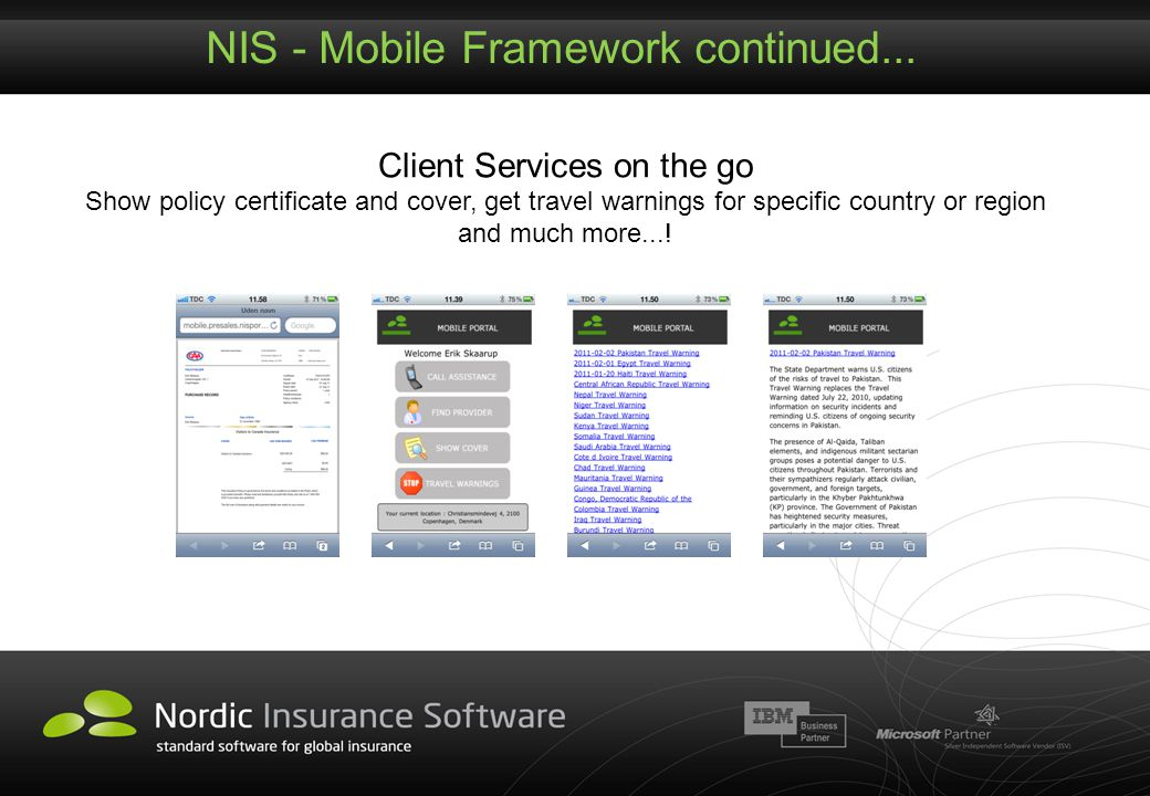 NIS - Mobile Framework continued...
