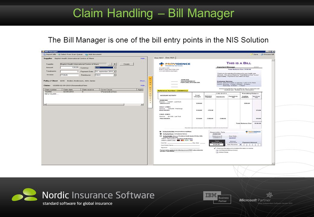 Claim Handling – Bill Manager