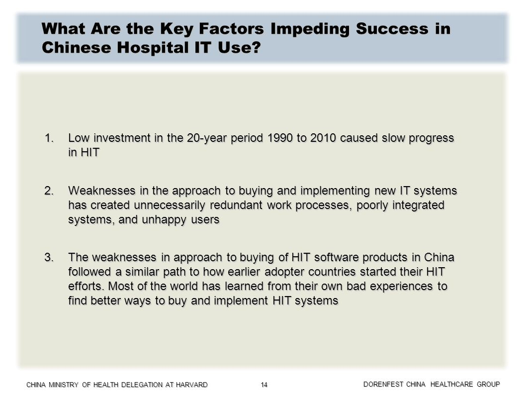 What Are the Key Factors Impeding Success in Chinese Hospital IT Use