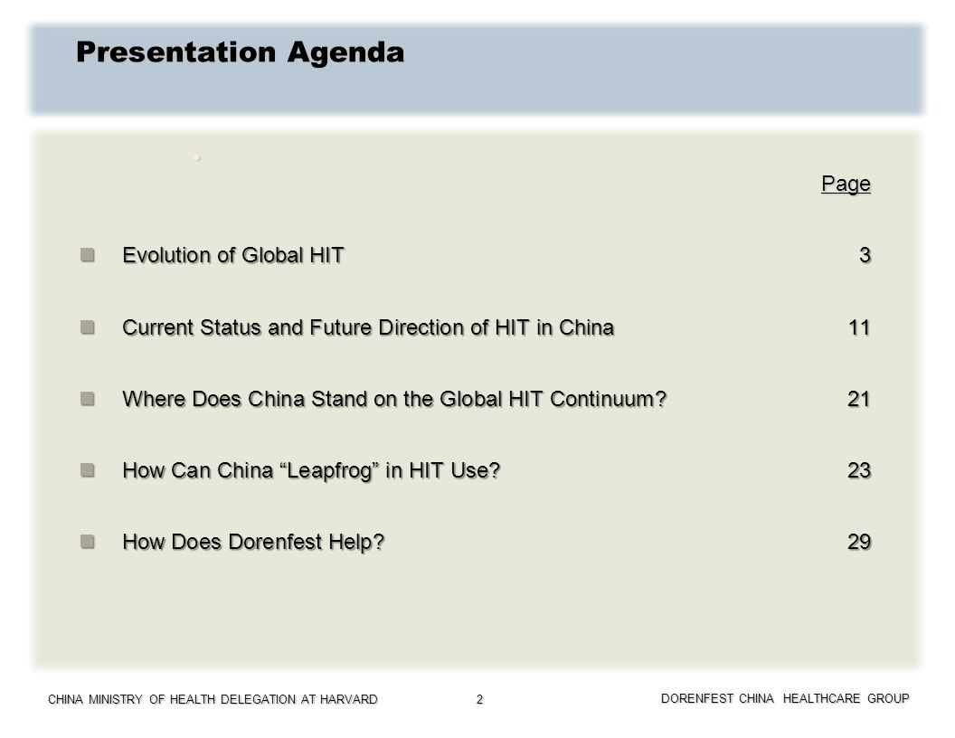 Presentation Agenda Page Evolution of Global HIT 3