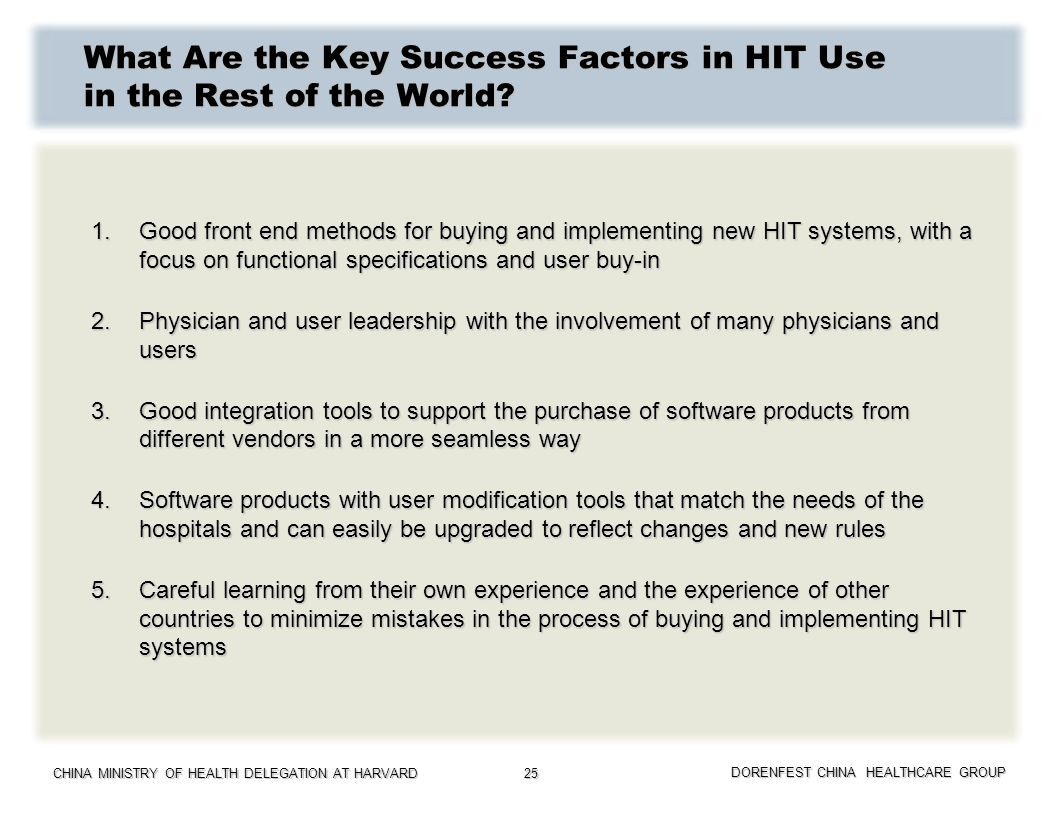 What Are the Key Success Factors in HIT Use in the Rest of the World