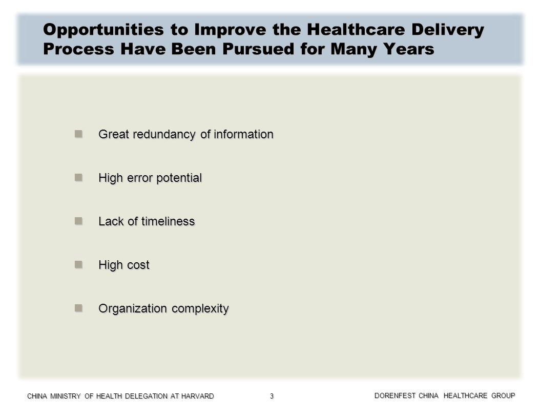Opportunities to Improve the Healthcare Delivery Process Have Been Pursued for Many Years