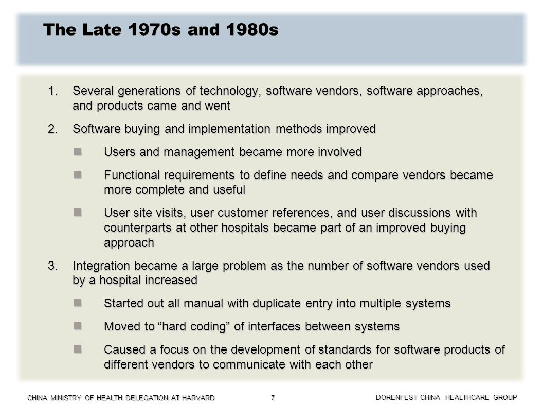 The Late 1970s and 1980s 1. Several generations of technology, software vendors, software approaches, and products came and went.