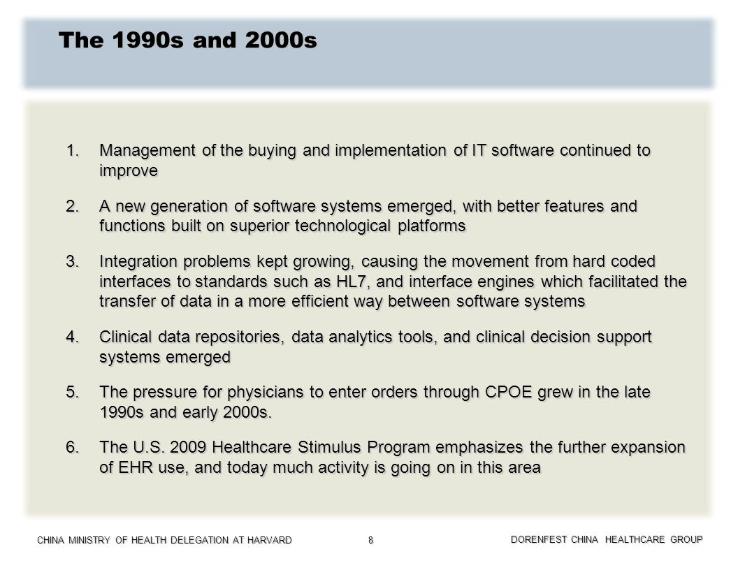 The 1990s and 2000s 1. Management of the buying and implementation of IT software continued to improve.
