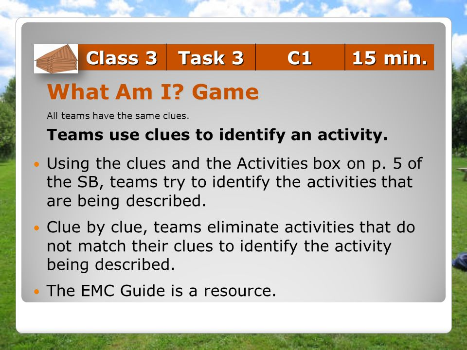 What Am I Game Class 3 Task 3 C1 15 min.