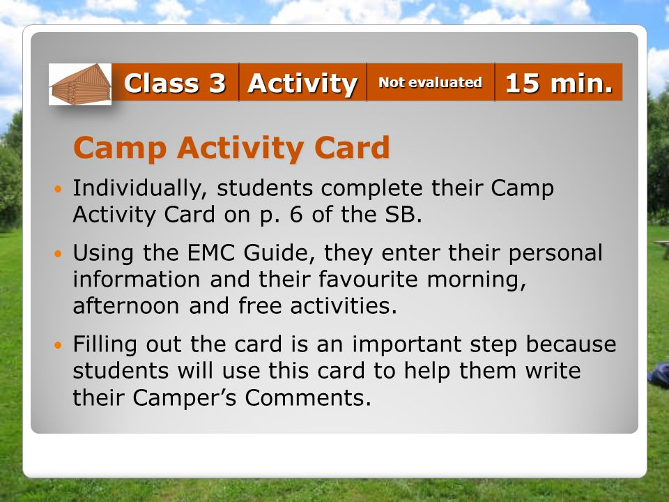 Camp Activity Card Class 3 Activity 15 min.