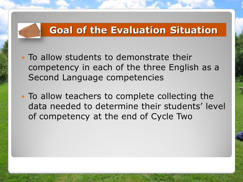 Goal of the Evaluation Situation