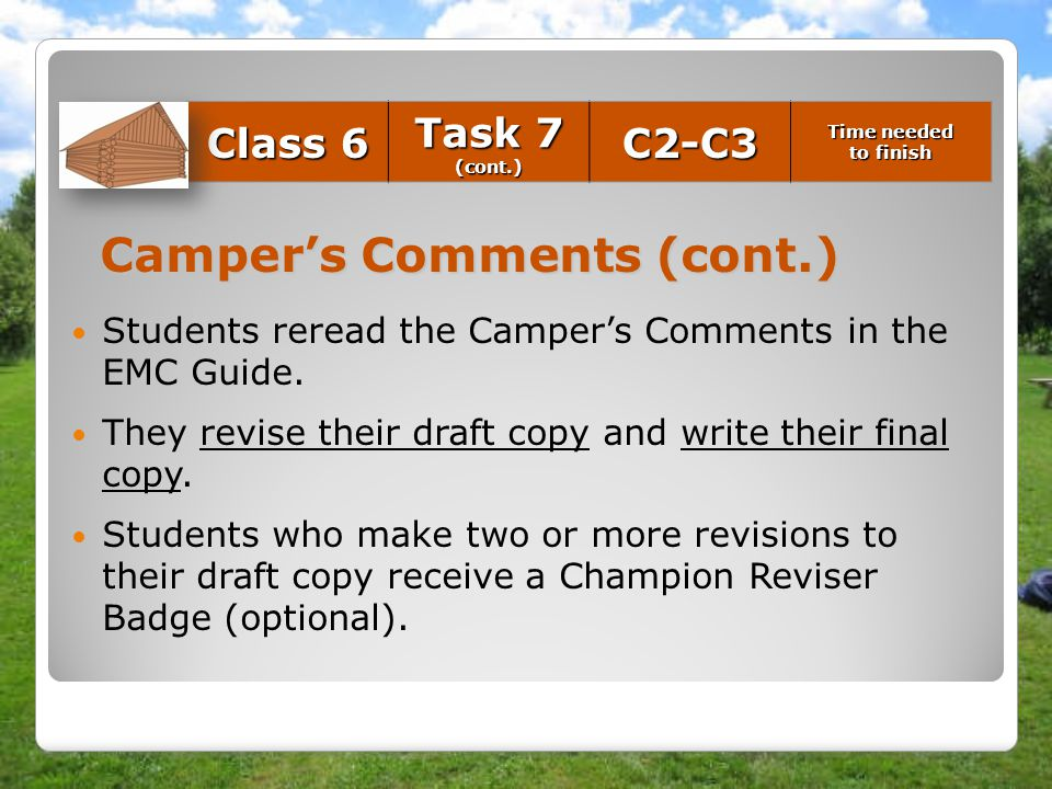 Camper's Comments (cont.)