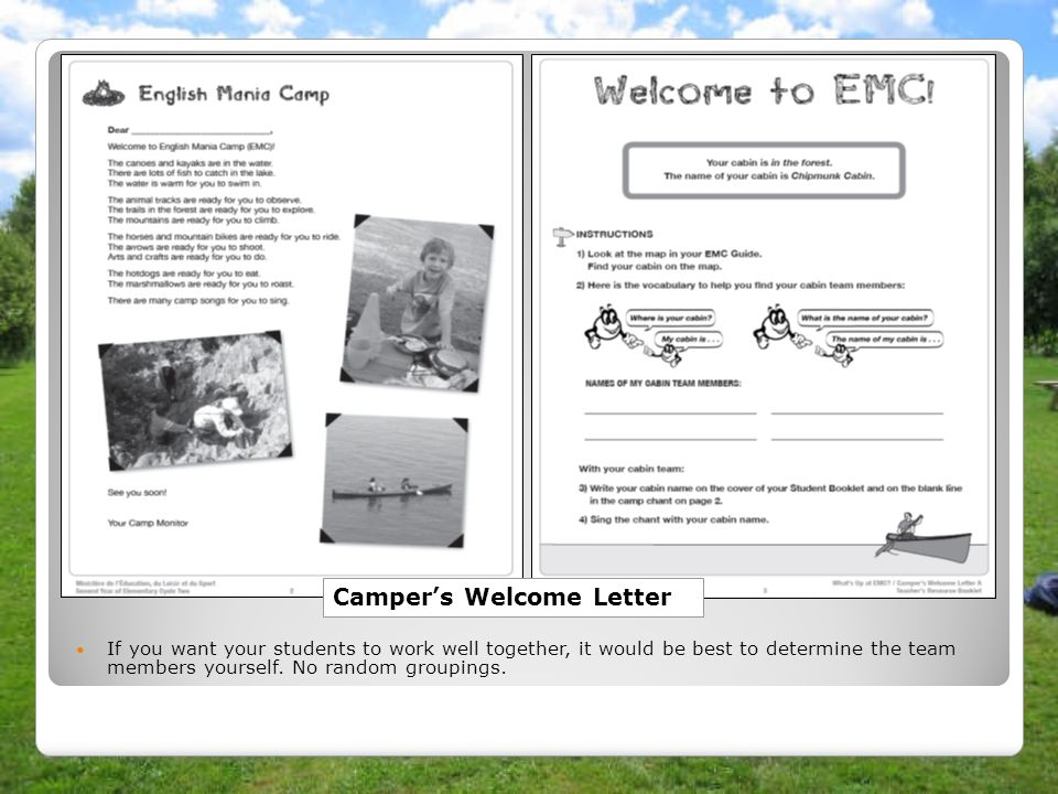 Camper's Welcome Letter