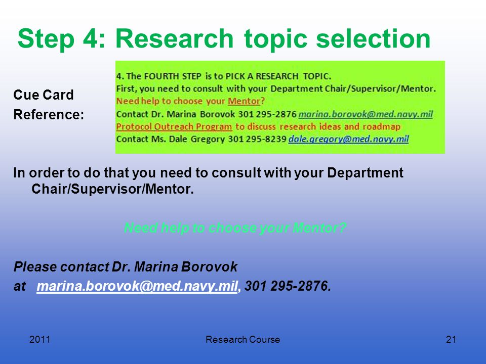 Step 4: Research topic selection