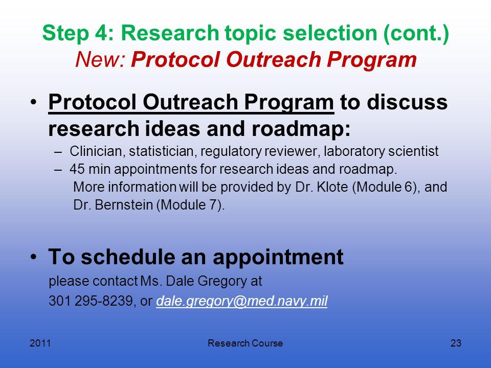 Protocol Outreach Program to discuss research ideas and roadmap:
