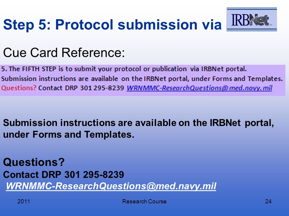 Step 5: Protocol submission via
