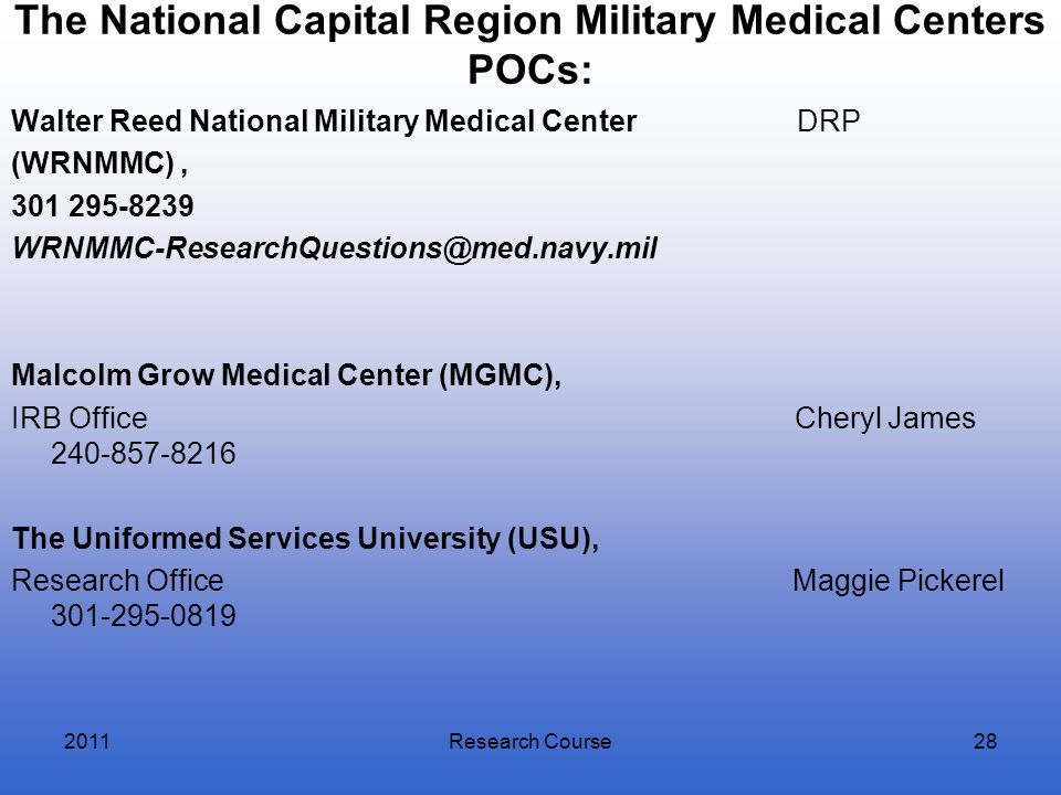 The National Capital Region Military Medical Centers POCs: