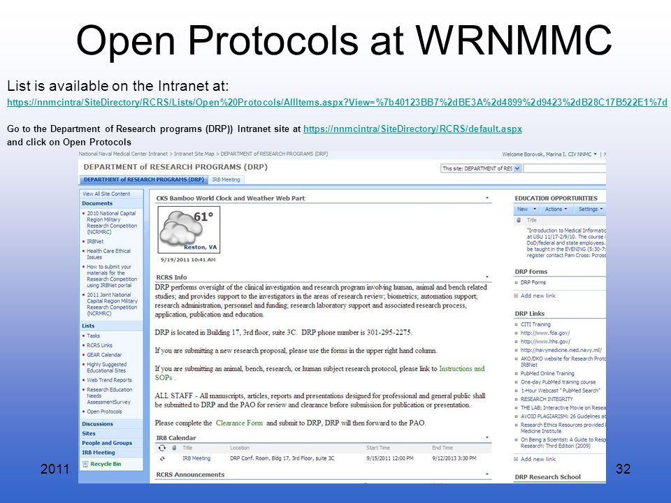 Open Protocols at WRNMMC