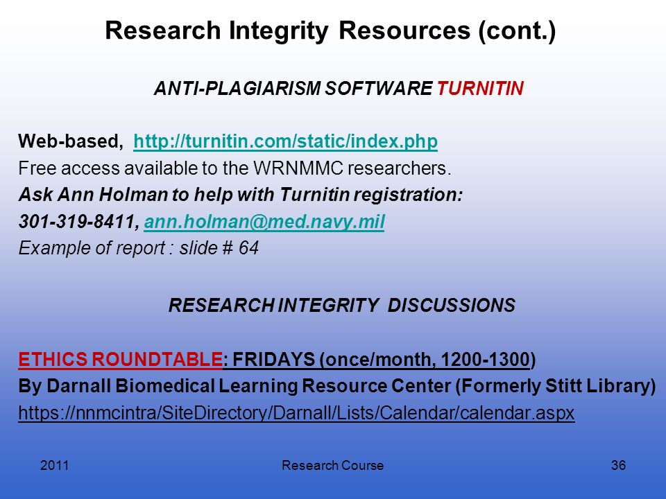 Research Integrity Resources (cont.)