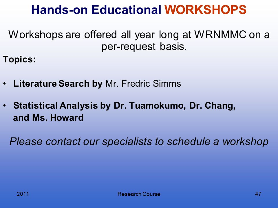 Hands-on Educational WORKSHOPS