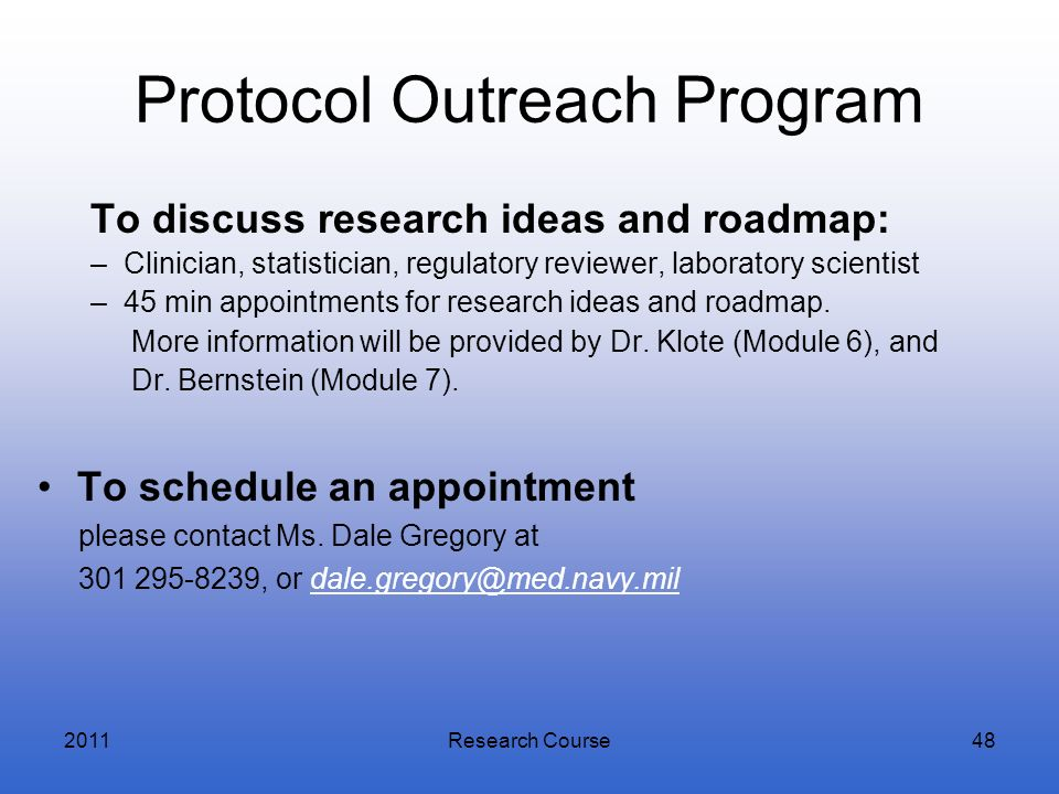 Protocol Outreach Program