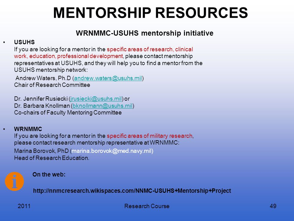 WRNMMC-USUHS mentorship initiative