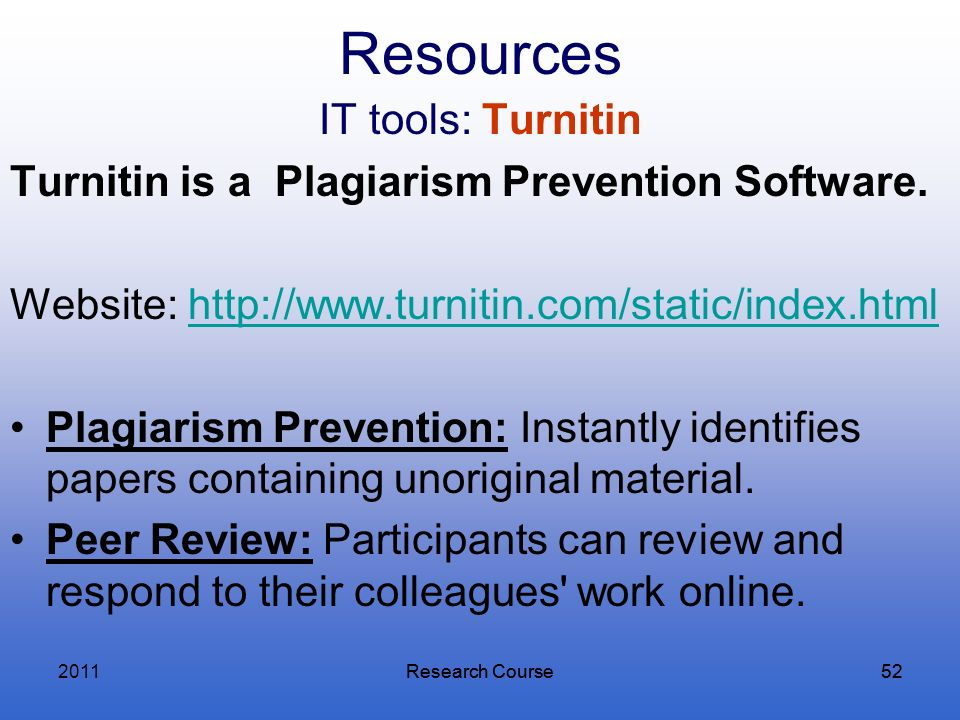 Resources IT tools: Turnitin