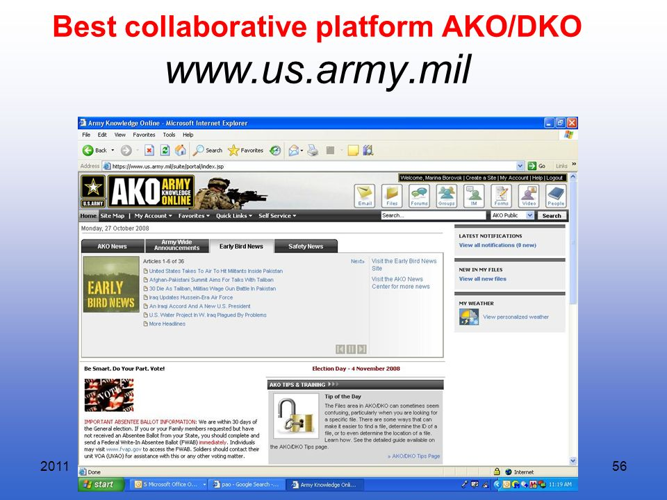Best collaborative platform AKO/DKO www.us.army.mil