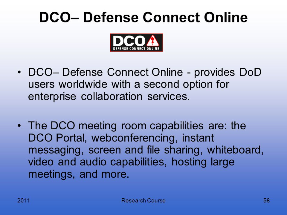 DCO– Defense Connect Online