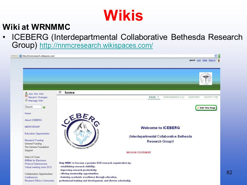 Wikis Wiki at WRNMMC. ICEBERG (Interdepartmental Collaborative Bethesda Research Group) http://nnmcresearch.wikispaces.com/