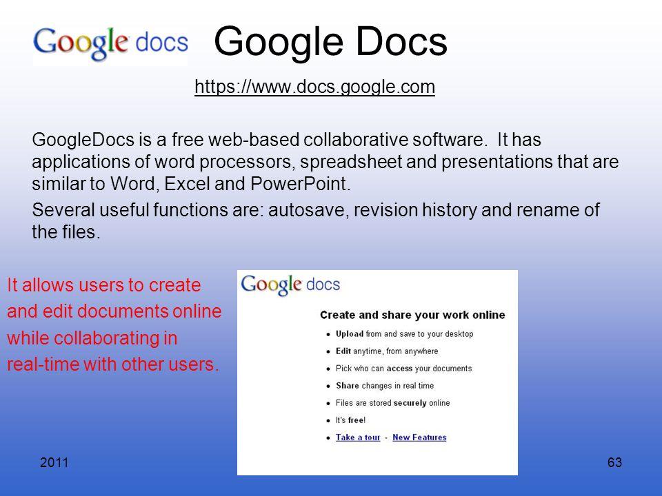 Google Docs https://www.docs.google.com