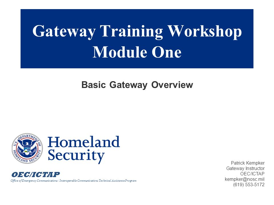 Gateway Training Workshop Module One
