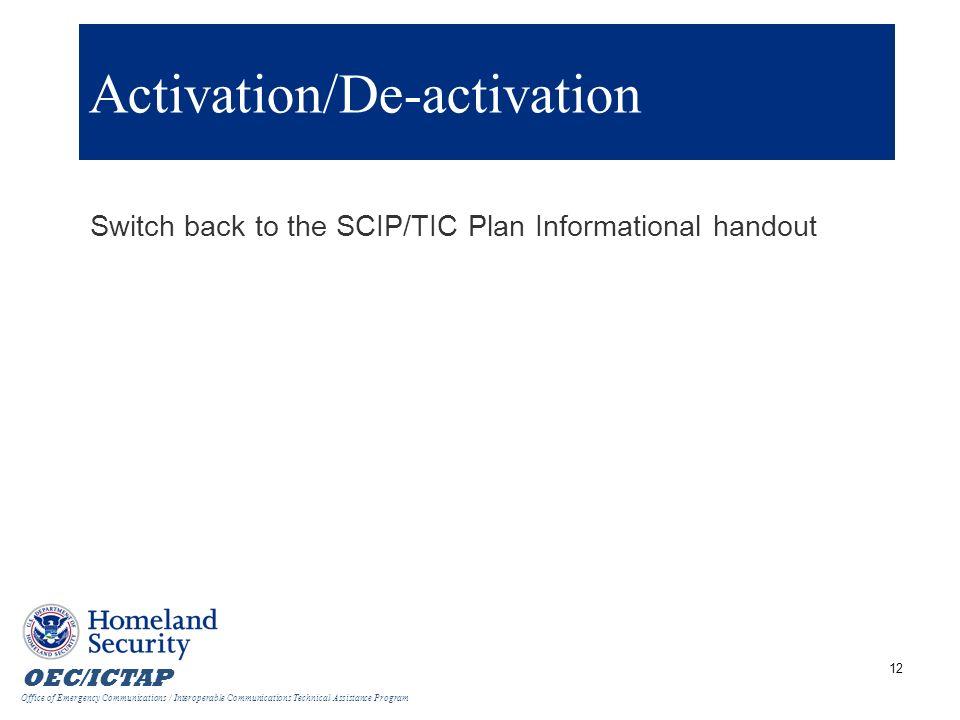 Activation/De-activation
