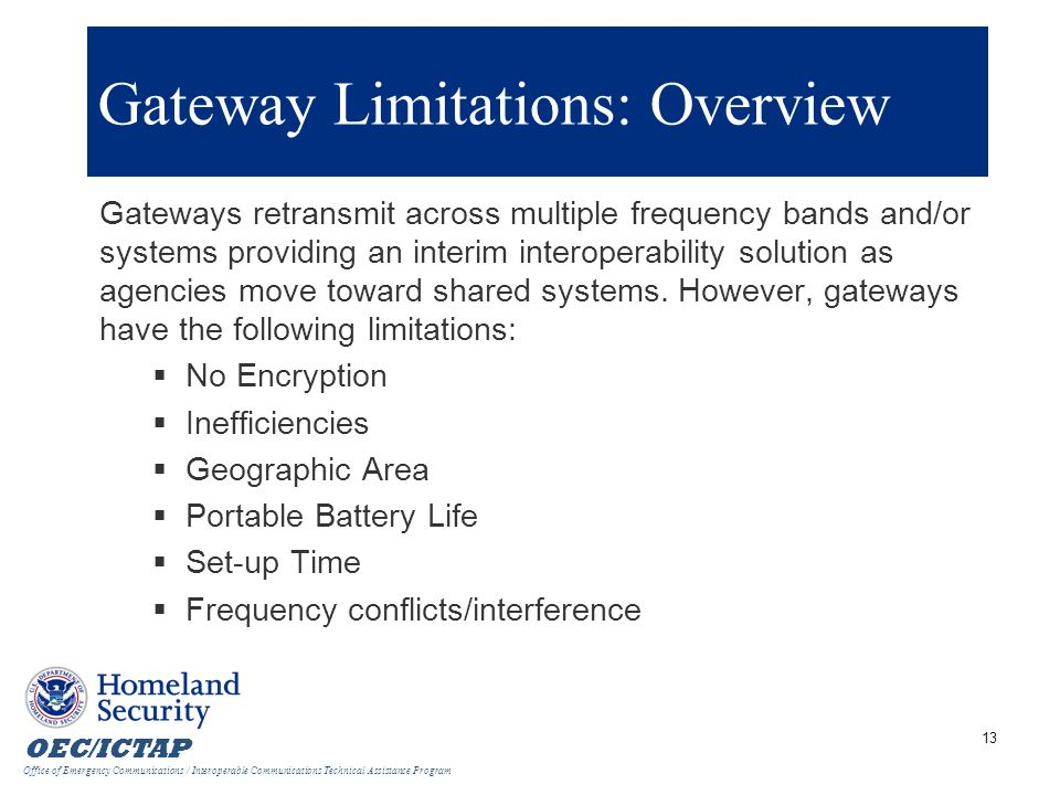 Gateway Limitations: Overview
