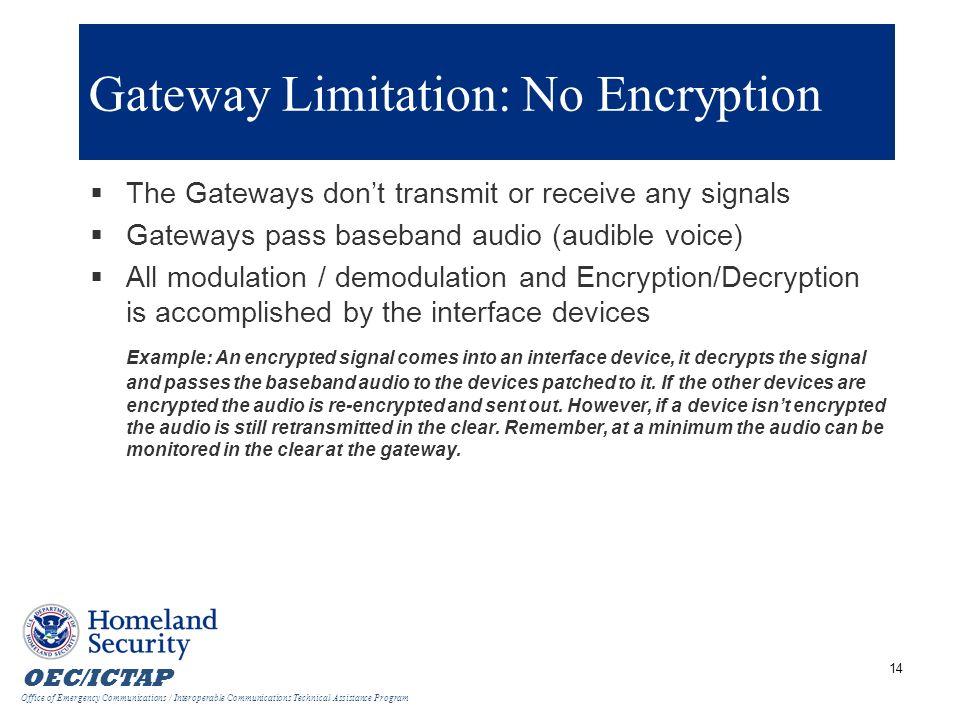 Gateway Limitation: No Encryption