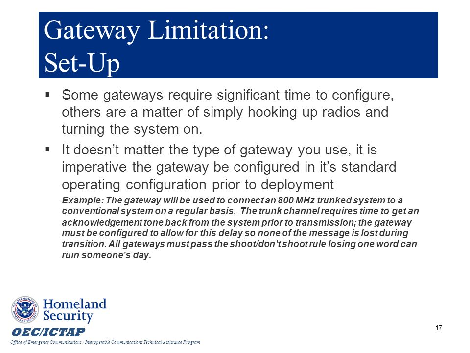 Gateway Limitation: Set-Up