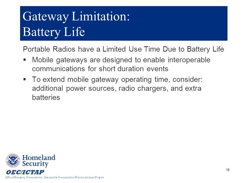 Gateway Limitation: Battery Life