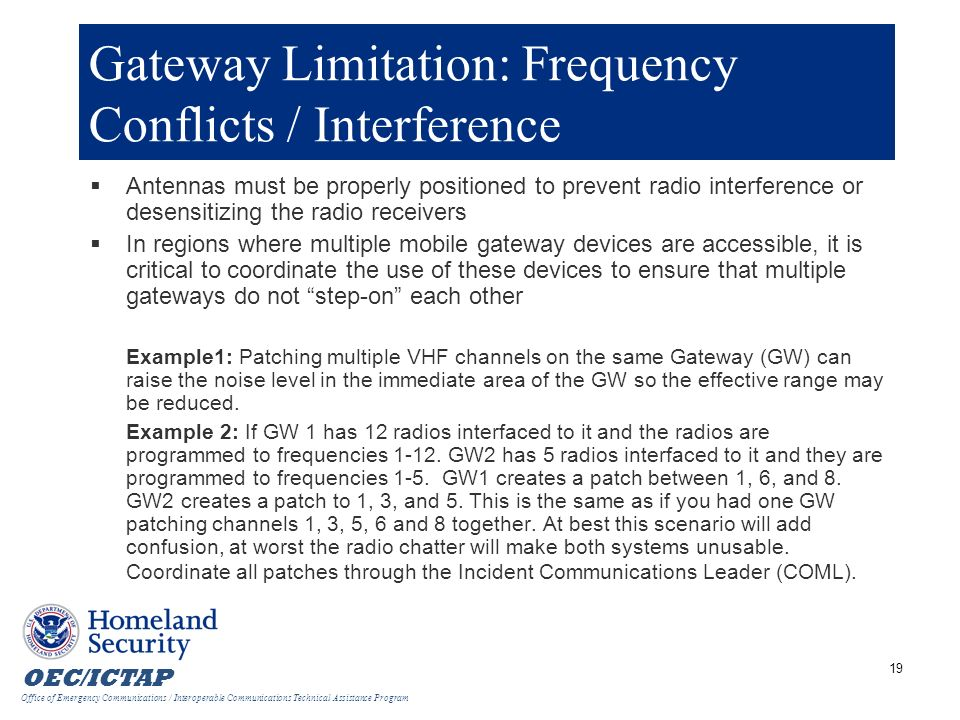 Gateway Limitation: Frequency Conflicts / Interference