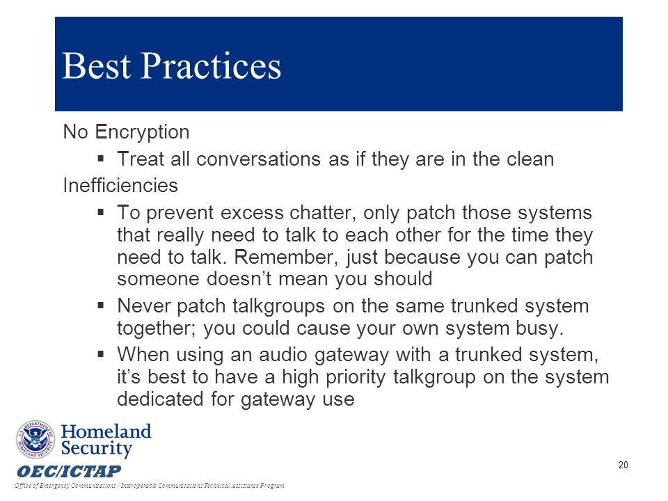 Best Practices No Encryption
