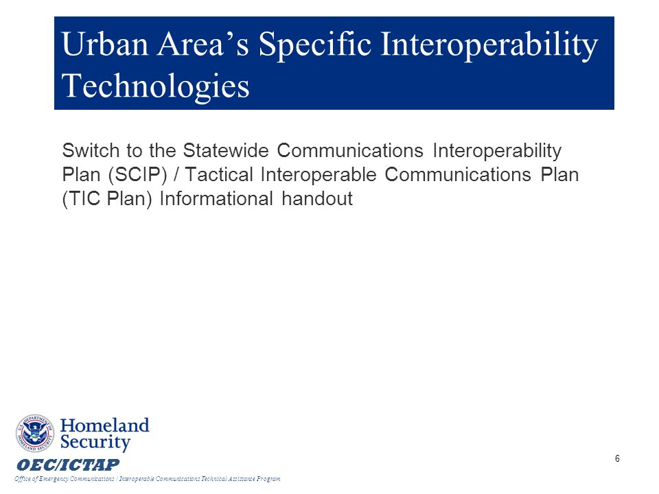 Urban Area's Specific Interoperability Technologies