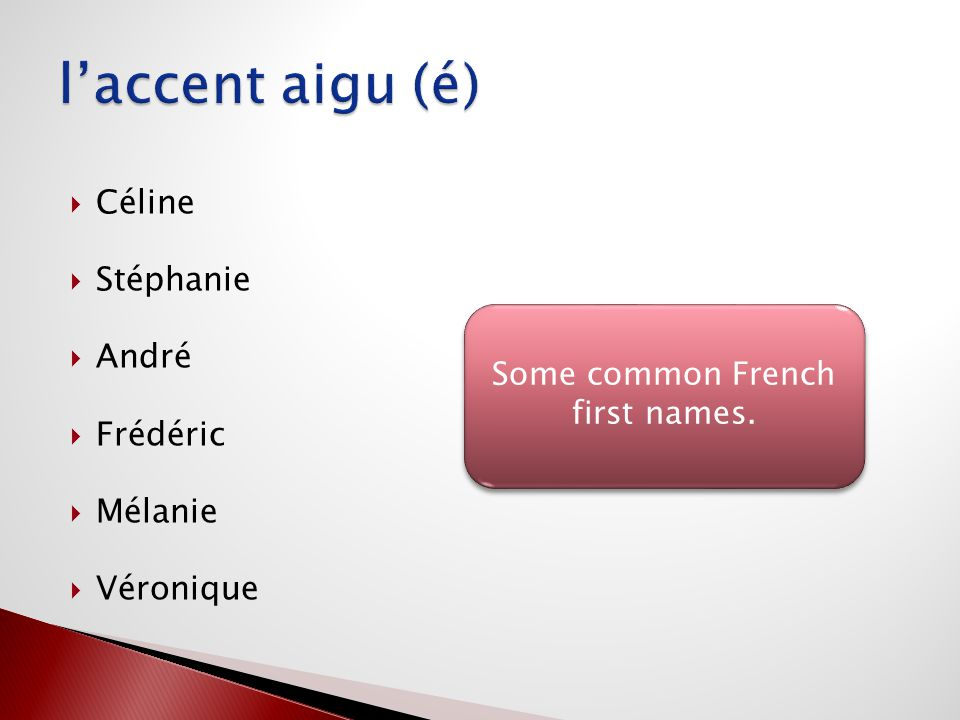 Some common French first names.