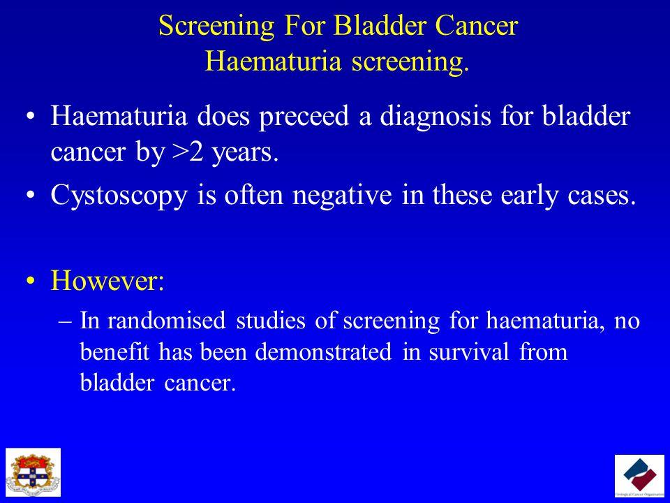 Screening For Bladder Cancer Haematuria screening.