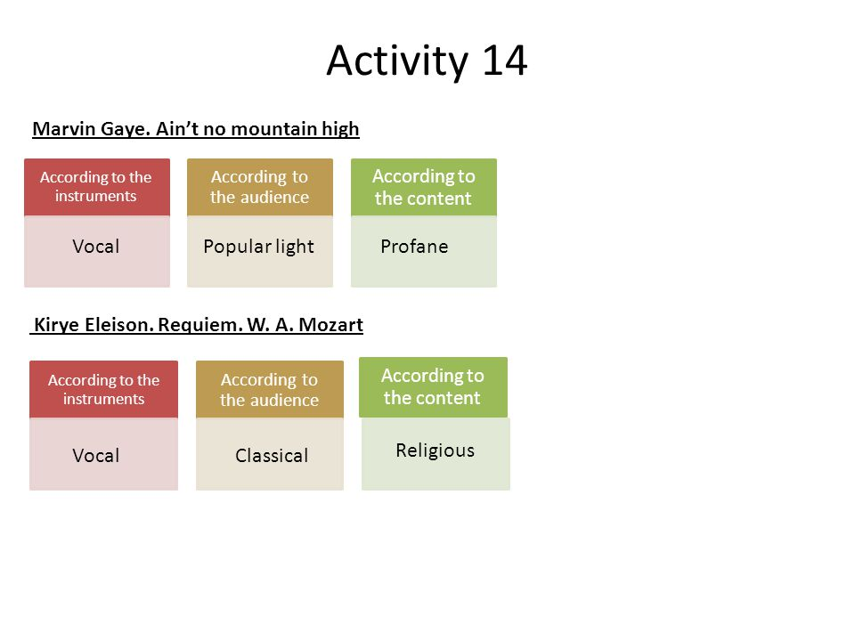 Activity 14 Marvin Gaye. Ain't no mountain high Vocal Popular light