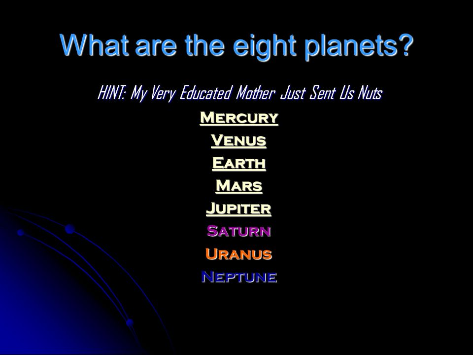 What are the eight planets