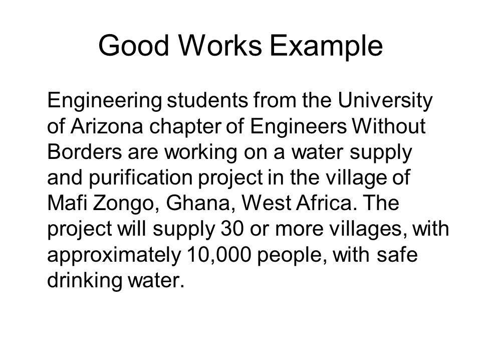 Good Works Example