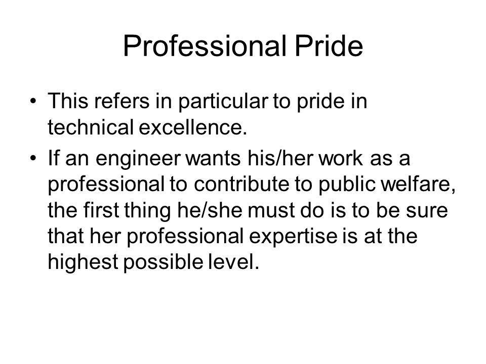 Professional Pride This refers in particular to pride in technical excellence.