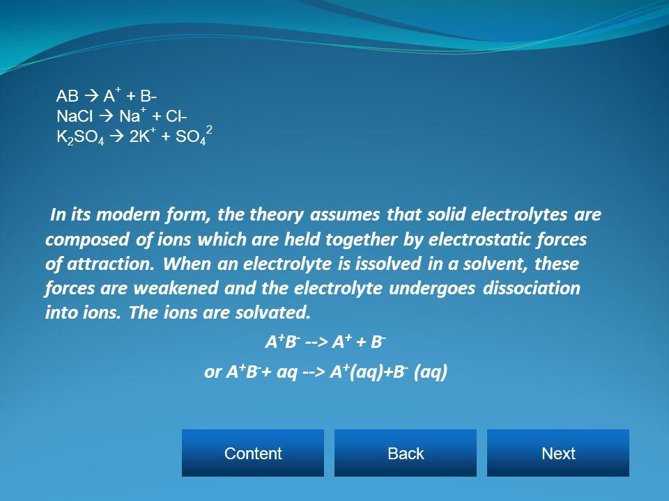 or A+B-+ aq --> A+(aq)+B- (aq)