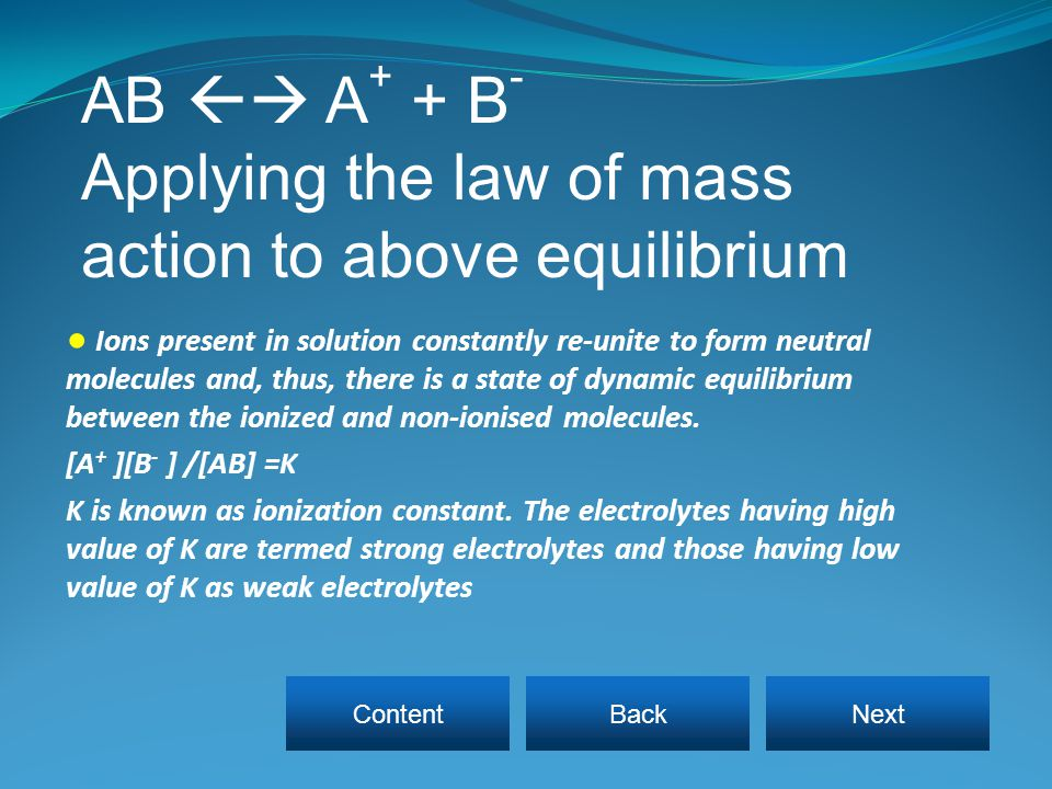 Applying the law of mass action to above equilibrium
