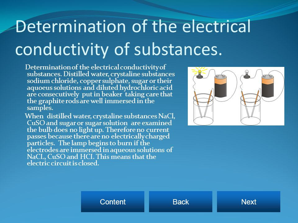 Determination of the electrical conductivity of substances.