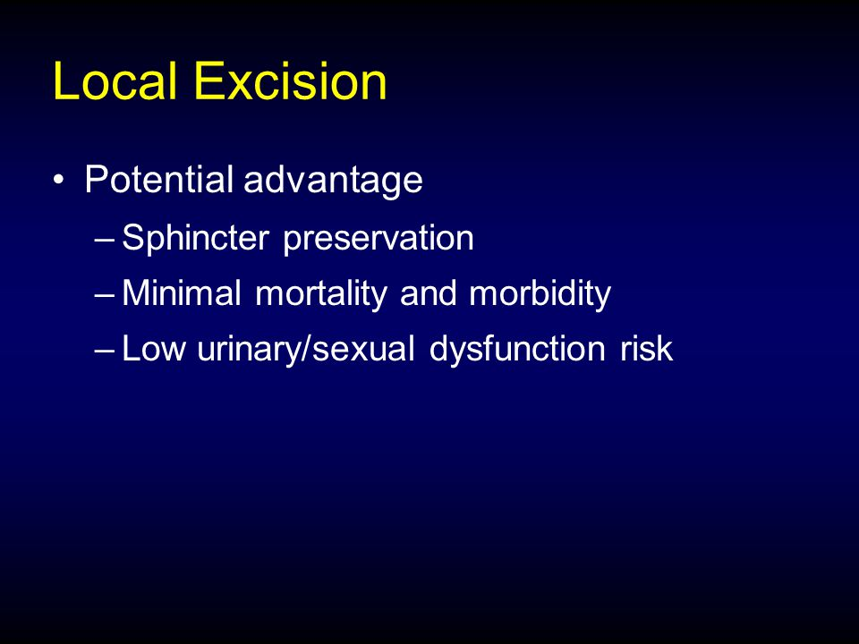 Local Excision Potential advantage Sphincter preservation